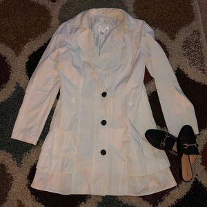 White ruffle trench coat